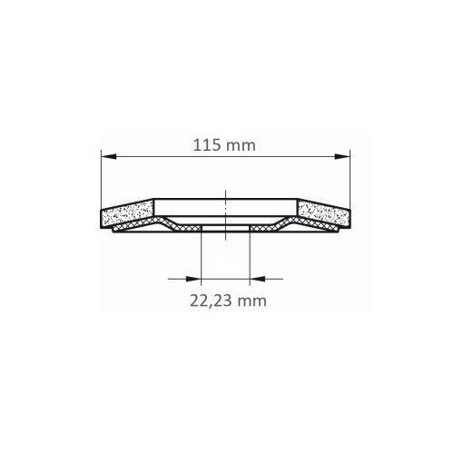 1 Stk. | Fächerschleifscheibe SLTR universal Ø 115 mm Zirkonkorund Korn 40 schräg Maßzeichnung