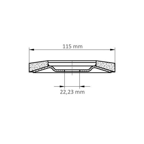 LUKAS Fächerschleifscheibe V4 MASTER universal Ø 115 mm Zirkonkorund Korn 60 schräg Maßzeichnung
