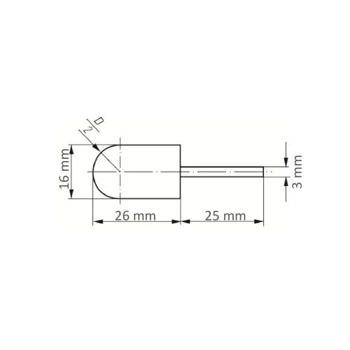 5 Stk.   Werkzeugaufnahme GTWR für Schleifkappen 16x26 mm Schaft 3 mm Maßzeichnung