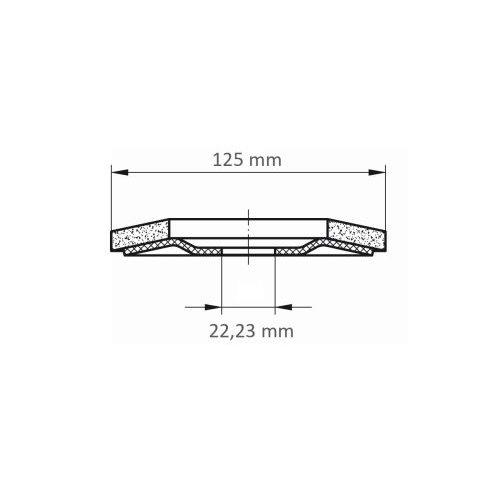 LUKAS Fächerschleifscheibe SLTR universal Ø 125 mm Zirkonkorund Korn 60 schräg Maßzeichnung