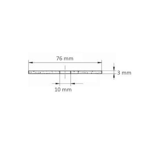 1 Stk. | Trennscheibe T41 für Edelstahl Ø 76x3,0 mm gerade | für Winkel- & Geradschleifer Maßzeichnung