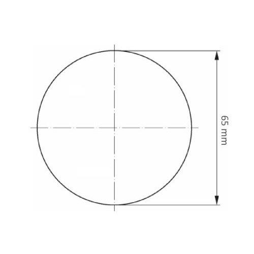 10 Stk. | LUKAS Mini-Fächerschleifscheibe SLTG universal Ø 65 mm Zirkonkorund Korn 60 flach  Maßzeichnung
