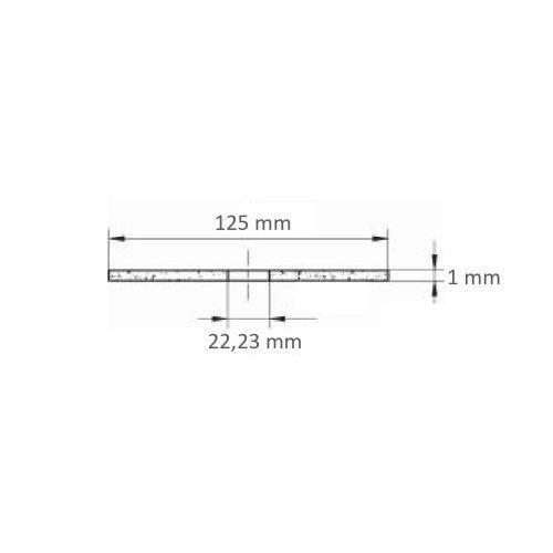 1 Stk. | Trennscheibe T41 für Edelstahl Ø 125x1,0 mm gerade | für Winkelschleifer | Edelstahl Maßzeichnung