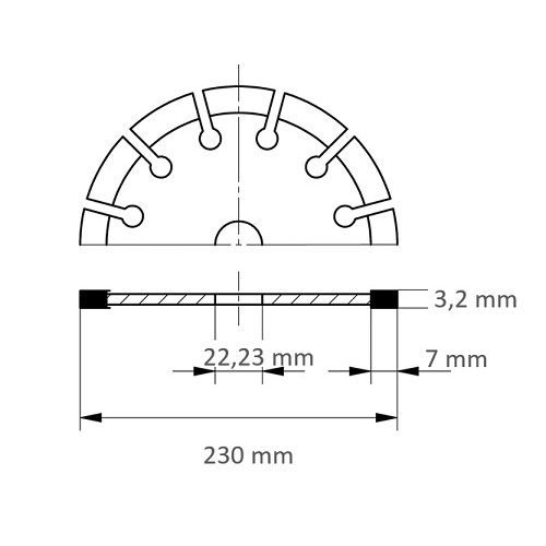 1 Stk. | Diamanttrennscheibe TC7 für Stein Ø 230 mm für Winkelschleifer Maßzeichnung