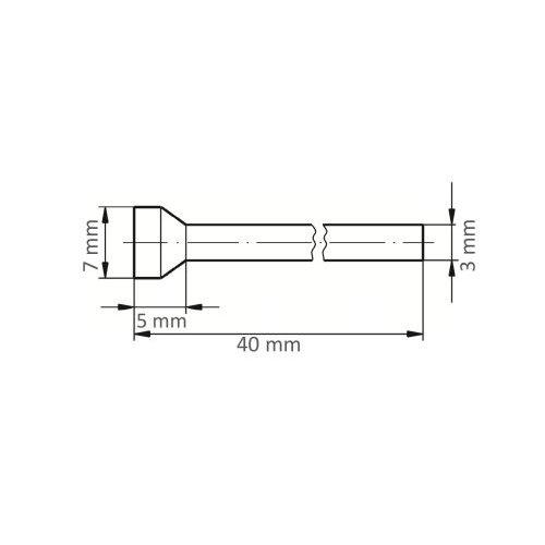 1 Stk.   Fräser HFT für Edelstahl/Stahl Rückwärtsentgrater 7x5 mm Schaft 3 mm Maßzeichnung