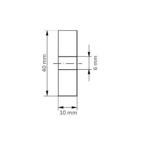10 Stk.   Polierscheibe P3S1 40x10 mm Bohrung 6 mm Filz für Polierpaste Maßzeichnung