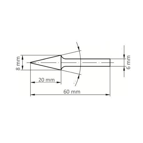 LUKAS Fräser HFM Spitzkegelform für Edelstahl/Stahl 8x20 mm Schaft 6 mm  Maßzeichnung