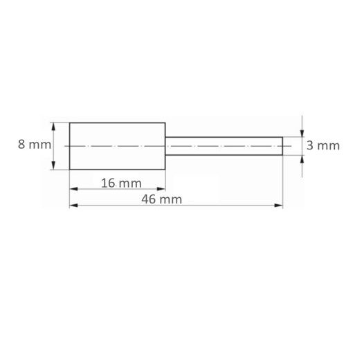 10 Stk. | Polierstift P6ZY Zylinderform Medium 8x16 mm Schaft 3 mm Siliciumcarbid Maßzeichnung