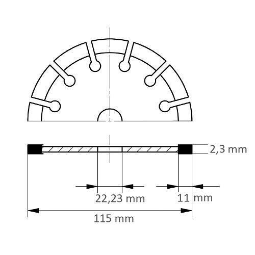 LUKAS Diamanttrennscheibe LD3 S10 für Stein/Beton/Asphalt Ø 115 mm für Winkelschleifer Maßzeichnung