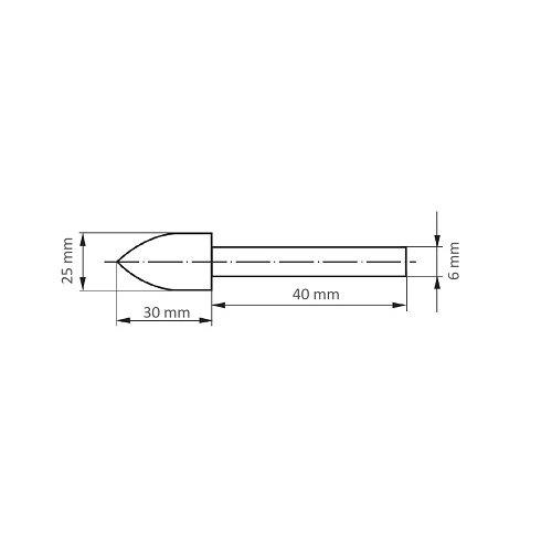 10 Stk. | Polierstift P3SP Spitzbogenform 25x30 mm Schaft 6 mm Filz für Polierpaste Maßzeichnung
