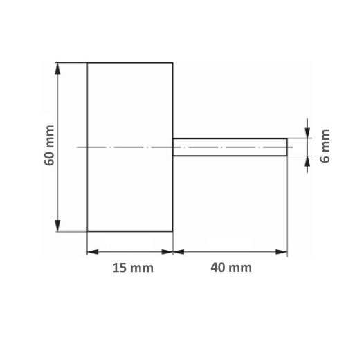 10 Stk. | LUKAS Fächerschleifer SFL universal 60x15 mm Schaft 6 mm Ceramic Korn 80 Maßzeichnung