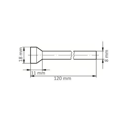 1 Stk.   Fräser HFT für Edelstahl/Stahl Rückwärtsentgrater 18x11 mm Schaft 8 mm Maßzeichnung