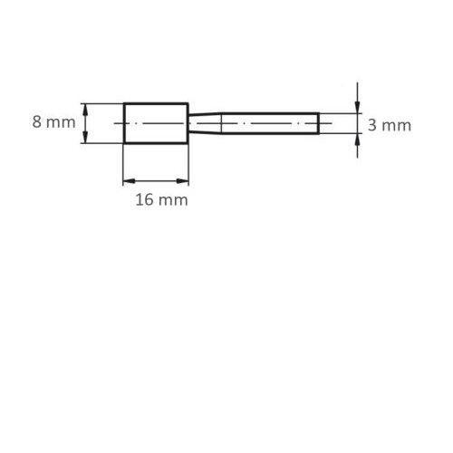 20 Stk. | Schleifstift ZY Zylinderform für Stahl/Stahlguss 8x16 mm Schaft 3 mm Korn 60 Maßzeichnung