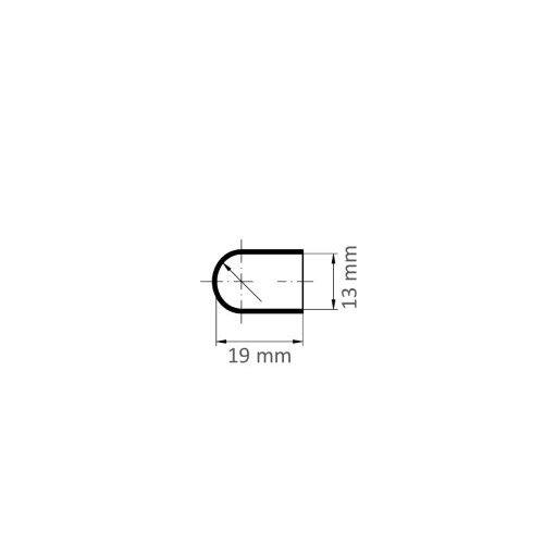 100 Stk. | Schleifkappe SKWRS Walzenrundform universal 13x19 mm Spezialkorund Korn 150 Maßzeichnung