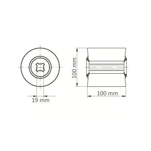 1 Stk. | Schleifwalze LWM universal 100x100 mm Bohrung 19 mm Korn 100/80 Maßzeichnung
