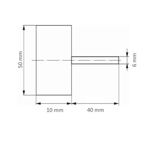 10 Stk. | Fächerschleifer SFV für Edelstahl 50x10 mm Schaft 6 mm Zirkonkorund Korn 180 Maßzeichnung