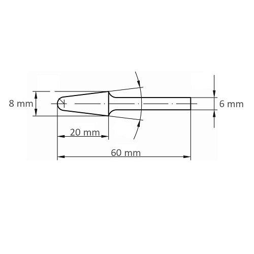 1 Stk. | Fräser HFL Rundkegelform für Alu 8x20 mm Schaft 6 mm Maßzeichnung