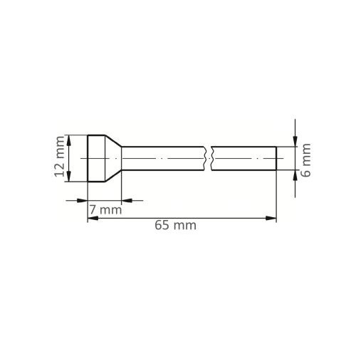 1 Stk. | Fräser HFT für Edelstahl/Stahl Rückwärtsentgrater 12x7 mm Schaft 6 mm Maßzeichnung