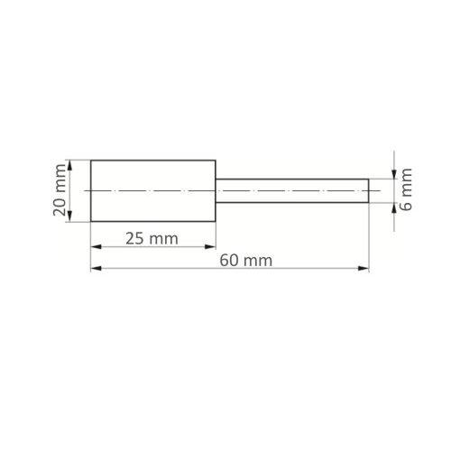 10 Stk. | Polierstift P3ZY Zylinderform 20x25 mm Schaft 6 mm Filz für Polierpaste Maßzeichnung