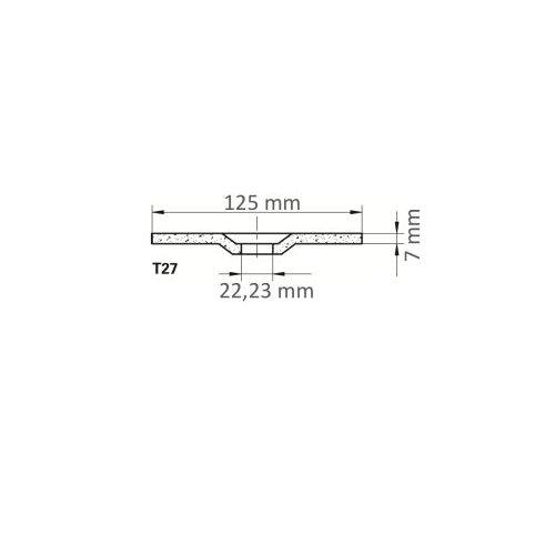 LUKAS Schruppscheibe T27 für Edelstahl Ø 125x7,0 mm gekröpft | für Winkelschleifer Maßzeichnung
