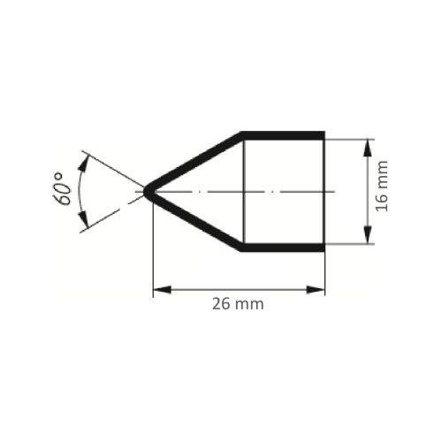 100 Stk. | LUKAS Schleifkappe SKWKS Walzenkegelform universal 16x26 mm Spezialkorund Korn 150  Maßzeichnung