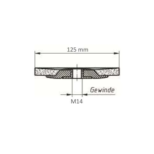 LUKAS Fächerschleifscheibe SLTflex universal Ø 125 mm Ceramic Korn 40 flach Maßzeichnung