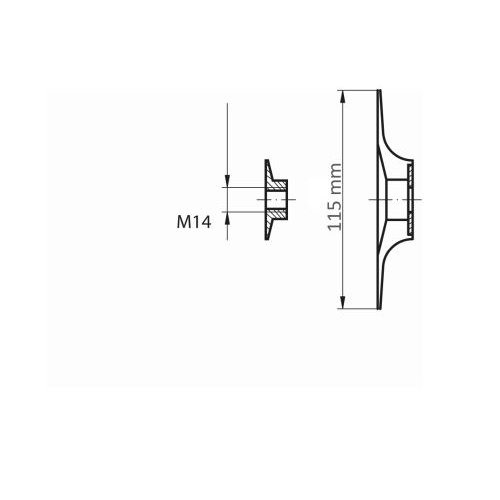 1 Stk.   Stützteller STF für Fiberscheiben Ø 115 mm mit M14-Gewinde für Winkelschleifer Maßzeichnung