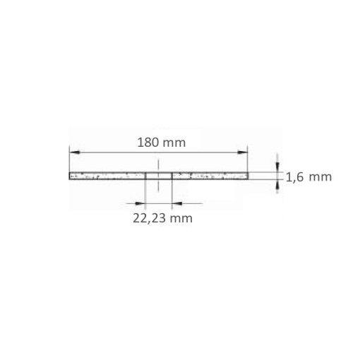 1 Stk. | Trennscheibe T41 für Edelstahl Ø 180x1,6 mm gerade | für Winkelschleifer Maßzeichnung