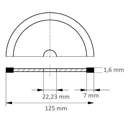 LUKAS Diamanttrennscheibe FLIESE S7 für Stein/Fliesen Ø 125 mm für Winkelschleifer  Maßzeichnung
