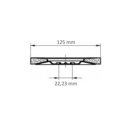 1 Stk. | Fächerschleifscheibe SLTT universal Ø 125 mm Zirkonkorund Korn 40 flach Maßzeichnung
