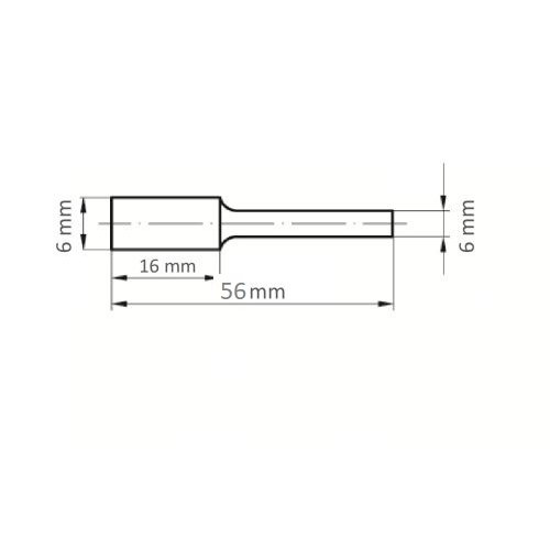 1 Stk. | Fräser HFA Zylinderform für Guss 6x16 mm Schaft 6 mm Maßzeichnung
