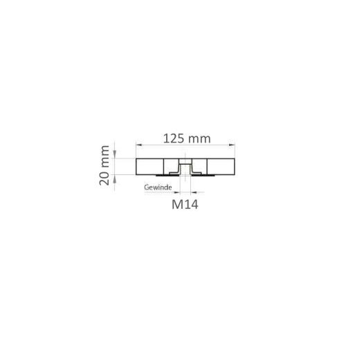 5 Stk. | Lamellenschleifscheibe LSL universal 125x20 mm mit M14-Gewinde Korn 80 Maßzeichnung