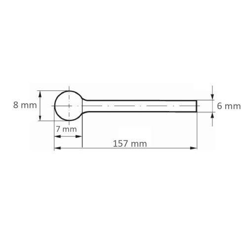 LUKAS Fräser HFD Kugelform universal 8x7 mm Schaft 6 mm langer Schaft  Maßzeichnung