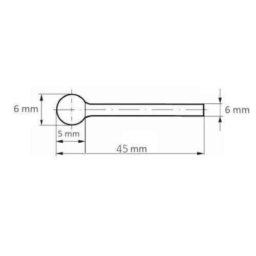 1 Stk. | Fräser HFD Kugelform für Guss 6x5 mm Schaft 6 mm Maßzeichnung