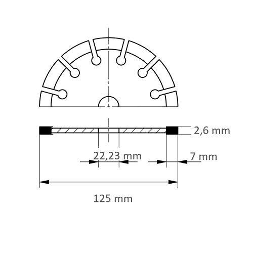 LUKAS Diamanttrennscheibe TC7 für Stein Ø 125 mm für Winkelschleifer  Maßzeichnung
