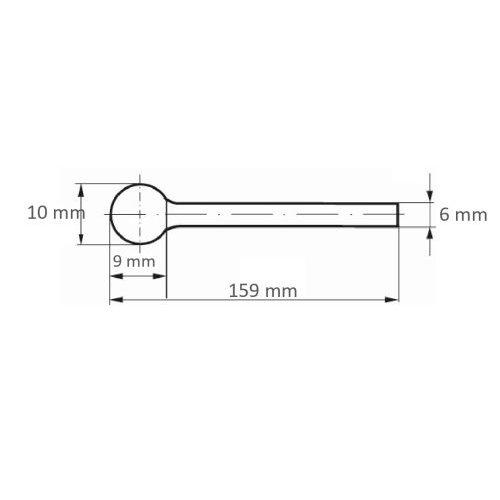 LUKAS Fräser HFD Kugelform universal 10x9 mm Schaft 6 mm langer Schaft  Maßzeichnung