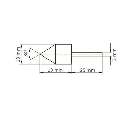 5 Stk. | Werkzeugaufnahme GTWK für Schleifkappen 13x19 mm Schaft 3 mm Maßzeichnung
