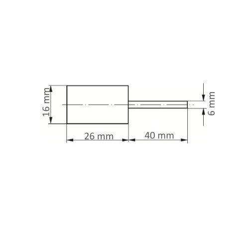 5 Stk. | Werkzeugaufnahme GTZY für Schleifkappen 16x26 mm Schaft 6 mm Maßzeichnung