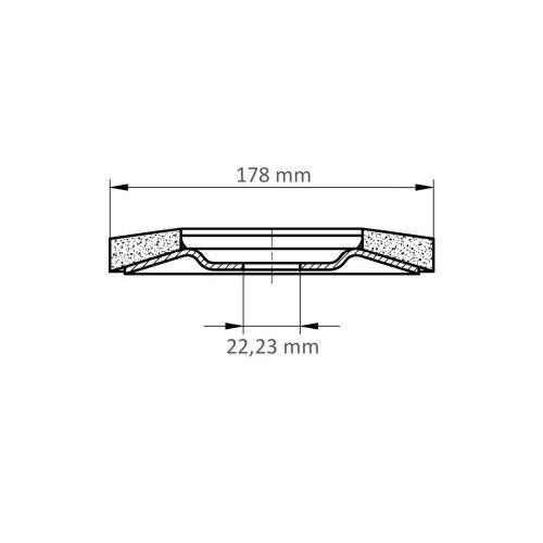 1 Stk. | Fächerschleifscheibe V4 MASTER universal Ø 178 mm Zirkonkorund Korn 40 schräg Maßzeichnung