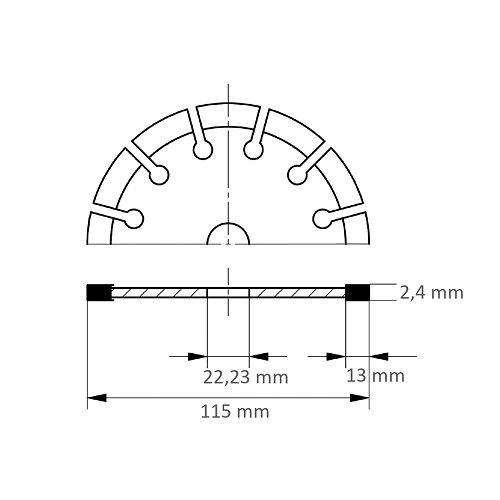 LUKAS Diamanttrennscheibe LD Multi S13 universal Ø 115 mm für Winkelschleifer  Maßzeichnung