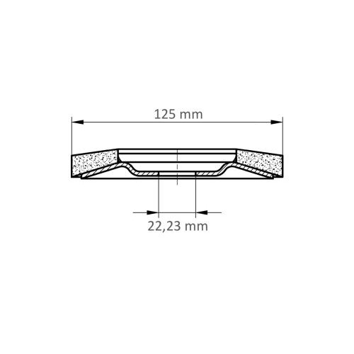 LUKAS Fächerschleifscheibe V4 MASTER universal Ø 125 mm Zirkonkorund Korn 60 schräg Maßzeichnung