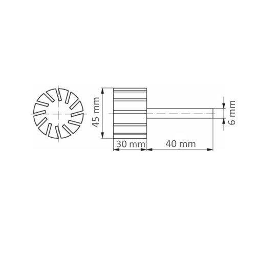 5 Stk. | LUKAS Werkzeugaufnahme STZY für Schleifhülsen 45x30 mm Schaft 6 mm  Maßzeichnung