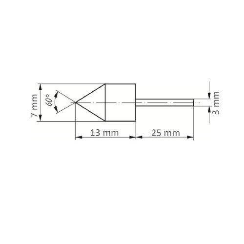 5 Stk.   LUKAS Werkzeugaufnahme GTWK für Schleifkappen 7x13 mm Schaft 3 mm  Maßzeichnung