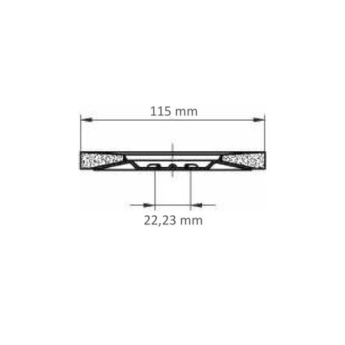 LUKAS Fächerschleifscheibe SLTT universal Ø 115 mm Zirkonkorund Korn 60 flach Maßzeichnung