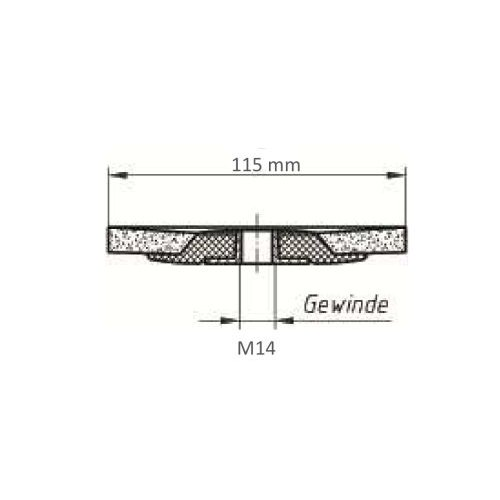 10 Stk. | LUKAS Fächerschleifscheibe SLTs-flex universal Ø 115 mm Zirkonkorund Korn 40 flach  Maßzeichnung