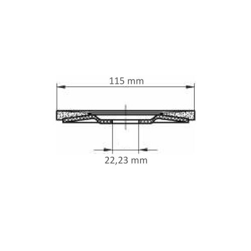1 Stk. | Fächerschleifscheibe V2 POWER universal Ø 115 mm Zirkonkorund Korn 40 schräg Maßzeichnung