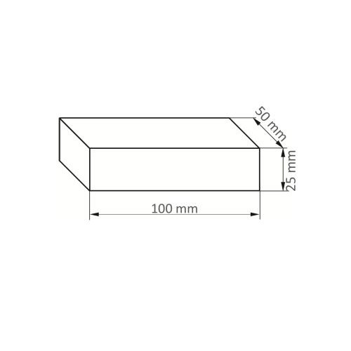 5 Stk. | LUKAS Abziehstein RU 3 | 100x50x25 mm Siliciumcarbid  Maßzeichnung