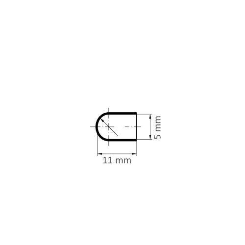 100 Stk.   LUKAS Schleifkappe SKWRS Walzenrundform universal 5x11 mm Spezialkorund Korn 150 Maßzeichnung