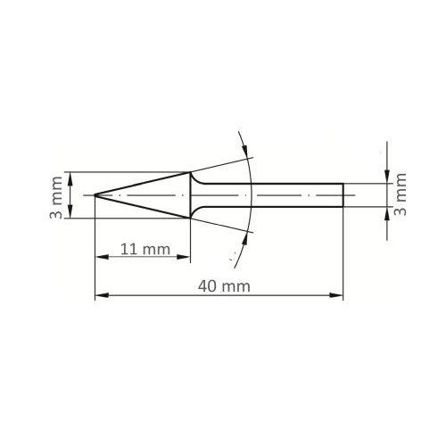 LUKAS Fräser HFM Spitzkegelform universal 3x11 mm Schaft 3 mm  Maßzeichnung