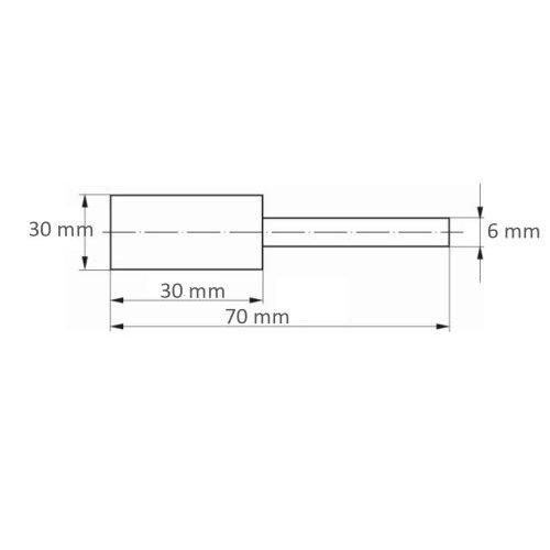 10 Stk. | Polierstift P6ZY Zylinderform Medium 30x30 mm Schaft 6 mm Kompaktkorn Maßzeichnung